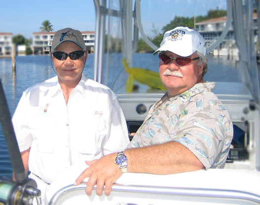 Daniel and Roger ready to head out of the Marina @ Great Harbour, Bahamas